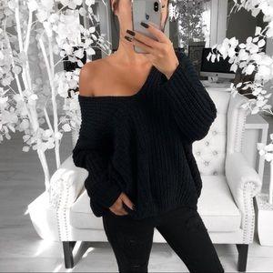 Black chenille sweater 🖤